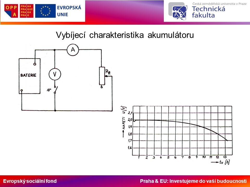 Evropský sociální fond Praha & EU: Investujeme do vaší budoucnosti Vybíjecí charakteristika akumulátoru