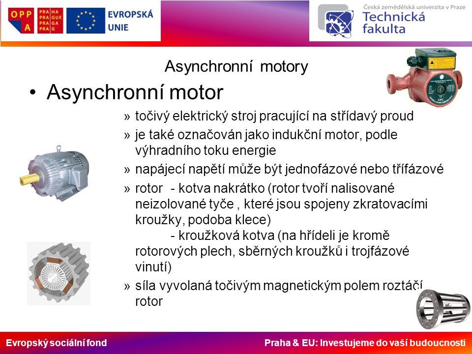 Evropský sociální fond Praha & EU: Investujeme do vaší budoucnosti Asynchronní motory Asynchronní motor »točivý elektrický stroj pracující na střídavý