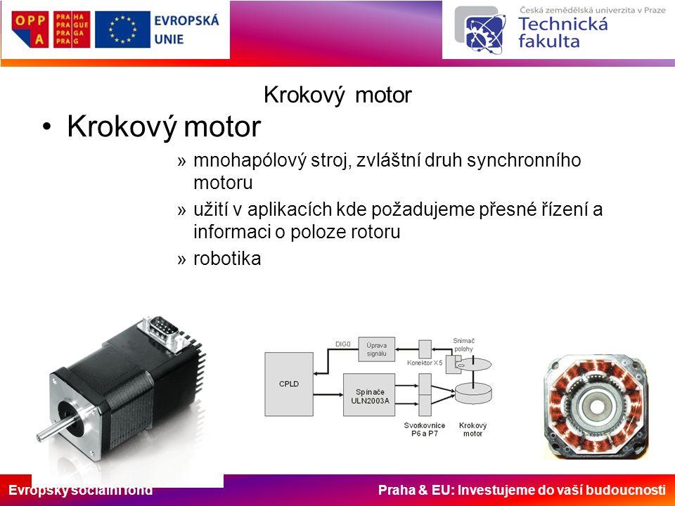 Evropský sociální fond Praha & EU: Investujeme do vaší budoucnosti Krokový motor »mnohapólový stroj, zvláštní druh synchronního motoru »užití v aplikacích kde požadujeme přesné řízení a informaci o poloze rotoru »robotika