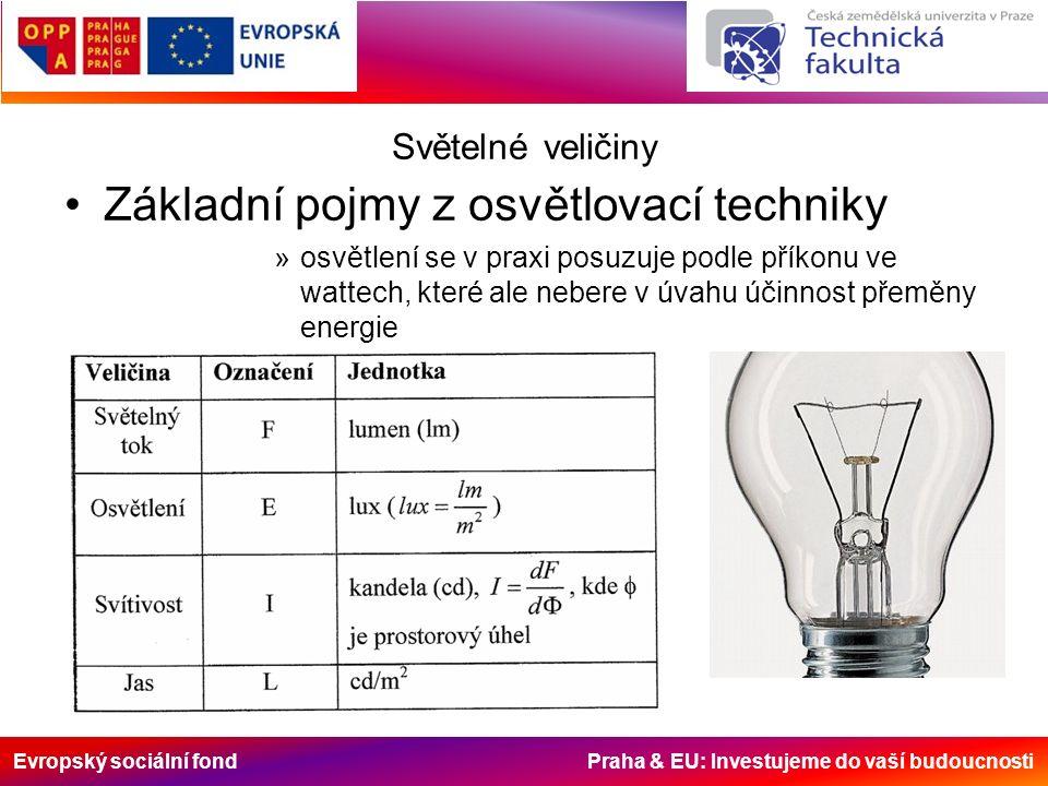 Evropský sociální fond Praha & EU: Investujeme do vaší budoucnosti Světelné veličiny Základní pojmy z osvětlovací techniky »osvětlení se v praxi posuzuje podle příkonu ve wattech, které ale nebere v úvahu účinnost přeměny energie