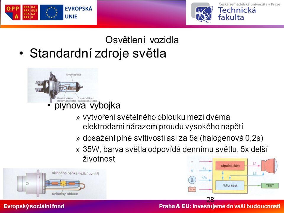 Evropský sociální fond Praha & EU: Investujeme do vaší budoucnosti 28 Osvětlení vozidla Standardní zdroje světla plynová výbojka »vytvoření světelného oblouku mezi dvěma elektrodami nárazem proudu vysokého napětí »dosažení plné svítivosti asi za 5s (halogenová 0,2s) »35W, barva světla odpovídá dennímu světlu, 5x delší životnost
