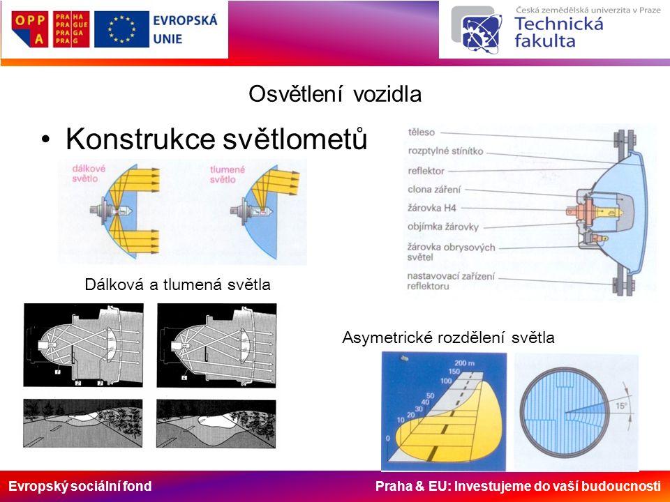 Evropský sociální fond Praha & EU: Investujeme do vaší budoucnosti Osvětlení vozidla Konstrukce světlometů Asymetrické rozdělení světla Dálková a tlum