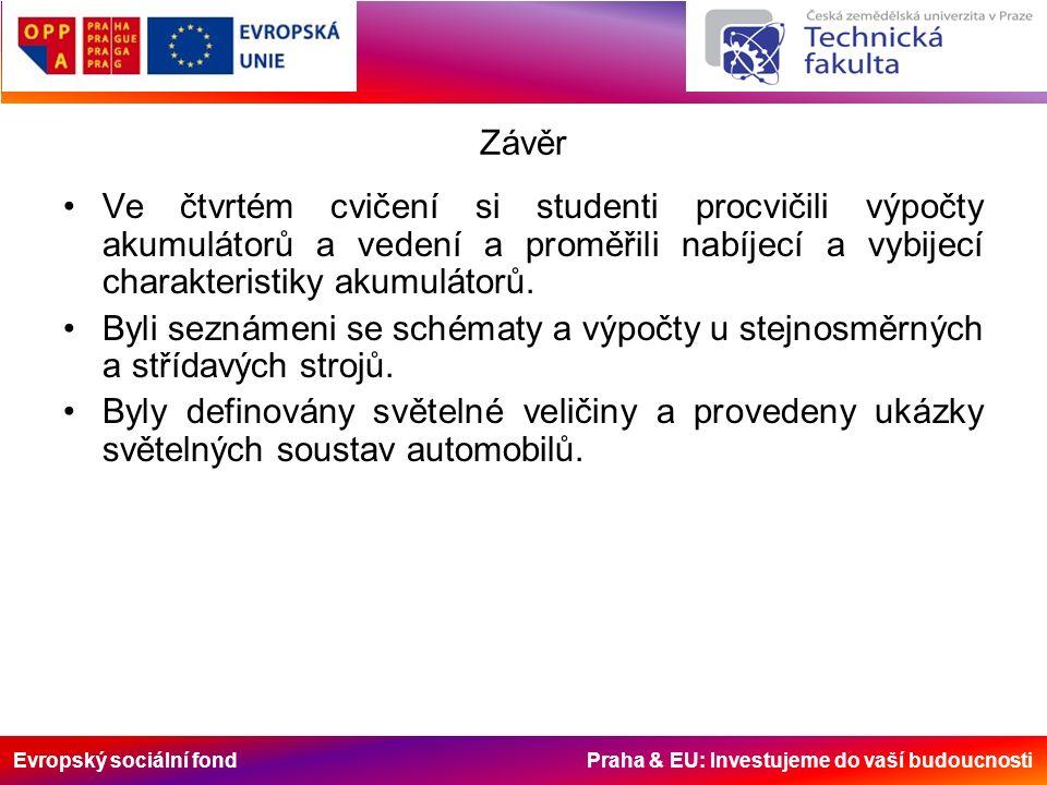 Evropský sociální fond Praha & EU: Investujeme do vaší budoucnosti Závěr Ve čtvrtém cvičení si studenti procvičili výpočty akumulátorů a vedení a proměřili nabíjecí a vybijecí charakteristiky akumulátorů.