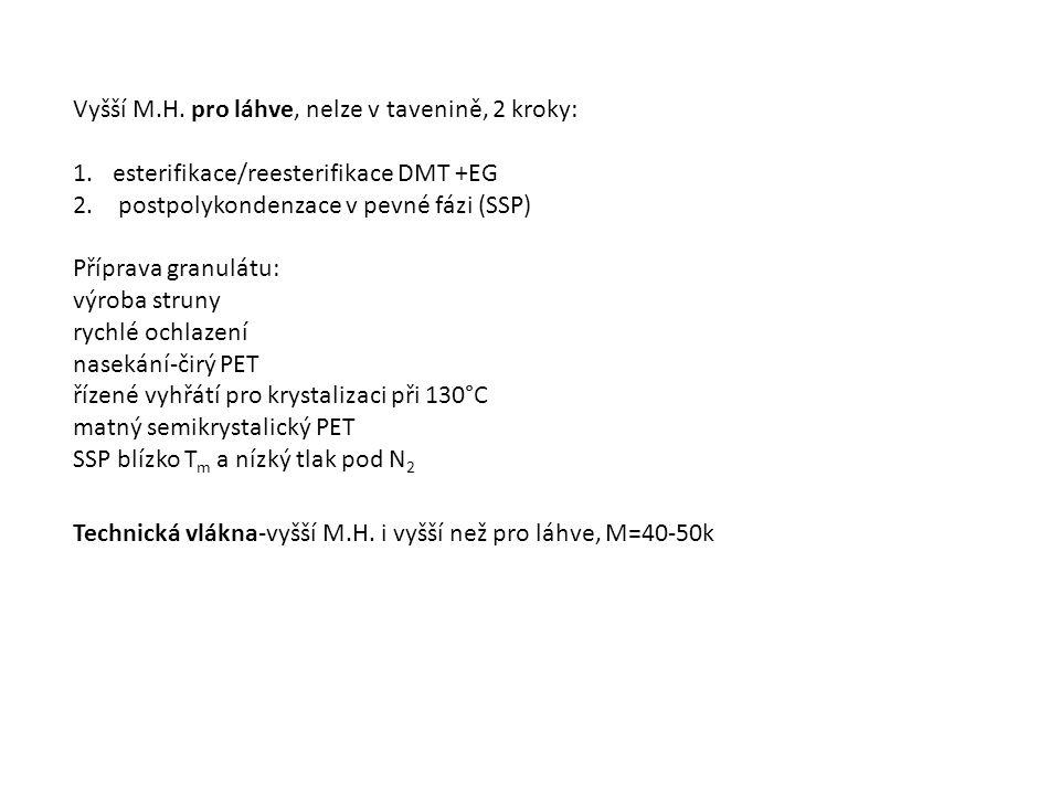 Vyšší M.H. pro láhve, nelze v tavenině, 2 kroky: 1.esterifikace/reesterifikace DMT +EG 2.