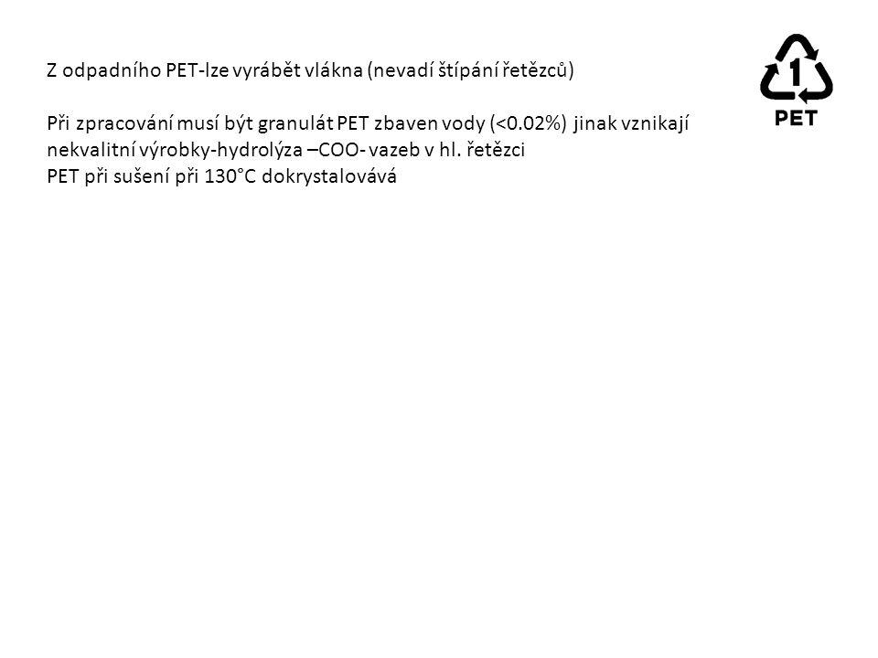 Z odpadního PET-lze vyrábět vlákna (nevadí štípání řetězců) Při zpracování musí být granulát PET zbaven vody (<0.02%) jinak vznikají nekvalitní výrobky-hydrolýza –COO- vazeb v hl.