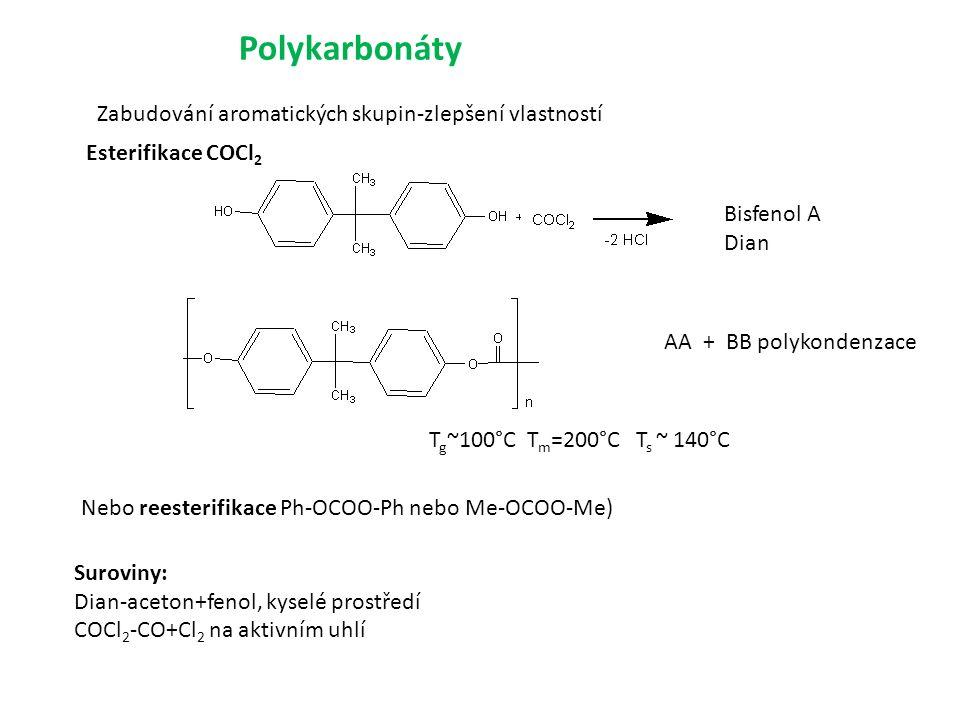 Polykarbonáty Zabudování aromatických skupin-zlepšení vlastností Bisfenol A Dian Suroviny: Dian-aceton+fenol, kyselé prostředí COCl 2 -CO+Cl 2 na aktivním uhlí T g ~100°C T m =200°C T s ~ 140°C AA + BB polykondenzace Nebo reesterifikace Ph-OCOO-Ph nebo Me-OCOO-Me) Esterifikace COCl 2