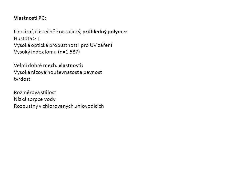 Vlastnosti PC: Lineární, částečně krystalický, průhledný polymer Hustota > 1 Vysoká optická propustnost i pro UV záření Vysoký index lomu (n=1.587) Velmi dobré mech.