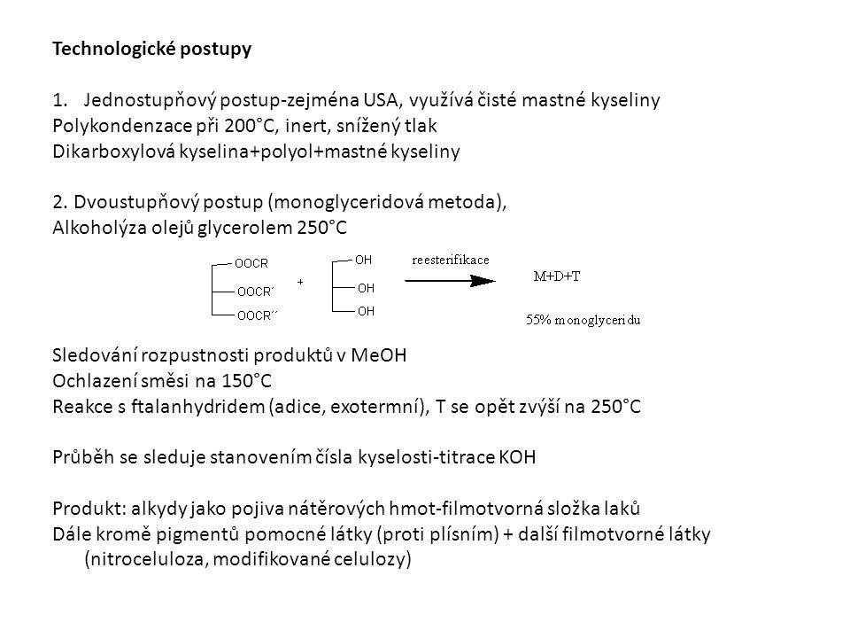 Technologické postupy 1.Jednostupňový postup-zejména USA, využívá čisté mastné kyseliny Polykondenzace při 200°C, inert, snížený tlak Dikarboxylová kyselina+polyol+mastné kyseliny 2.