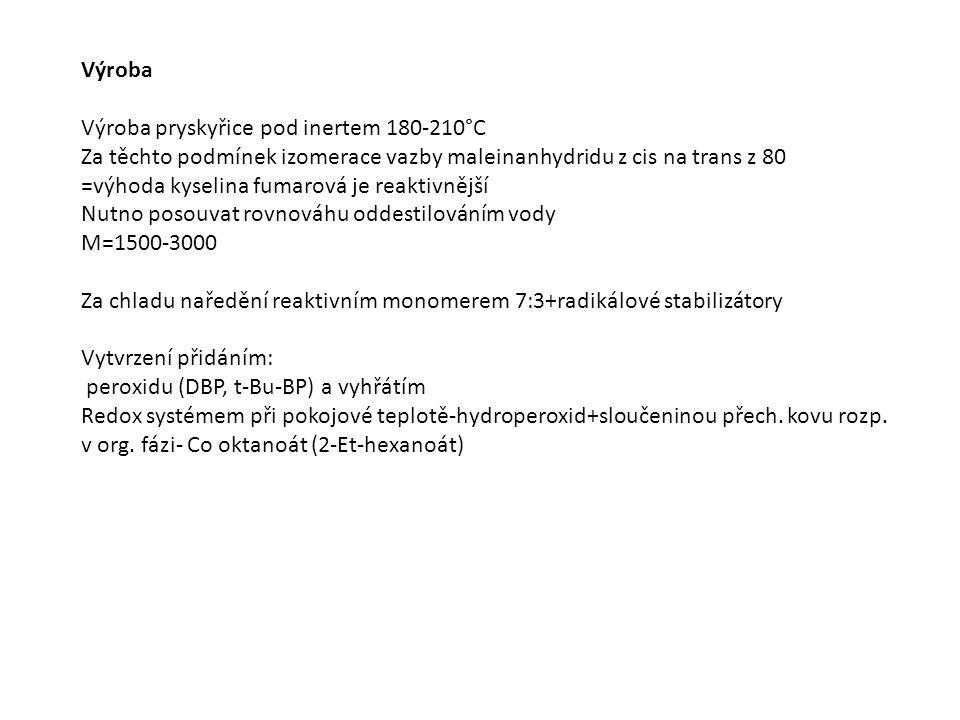 Výroba Výroba pryskyřice pod inertem 180-210°C Za těchto podmínek izomerace vazby maleinanhydridu z cis na trans z 80 =výhoda kyselina fumarová je reaktivnější Nutno posouvat rovnováhu oddestilováním vody M=1500-3000 Za chladu naředění reaktivním monomerem 7:3+radikálové stabilizátory Vytvrzení přidáním: peroxidu (DBP, t-Bu-BP) a vyhřátím Redox systémem při pokojové teplotě-hydroperoxid+sloučeninou přech.