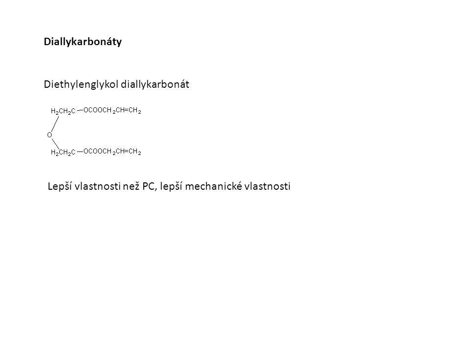 Diallykarbonáty Diethylenglykol diallykarbonát Lepší vlastnosti než PC, lepší mechanické vlastnosti
