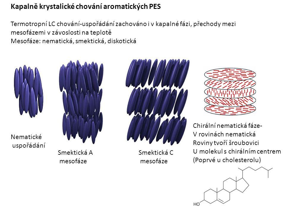 Kapalně krystalické chování aromatických PES Termotropní LC chování-uspořádání zachováno i v kapalné fázi, přechody mezi mesofázemi v závoslosti na teplotě Mesofáze: nematická, smektická, diskotická Chirální nematická fáze- V rovinách nematická Roviny tvoří šroubovici U molekul s chirálním centrem (Poprvé u cholesterolu) Nematické uspořádání Smektická A mesofáze Smektická C mesofáze