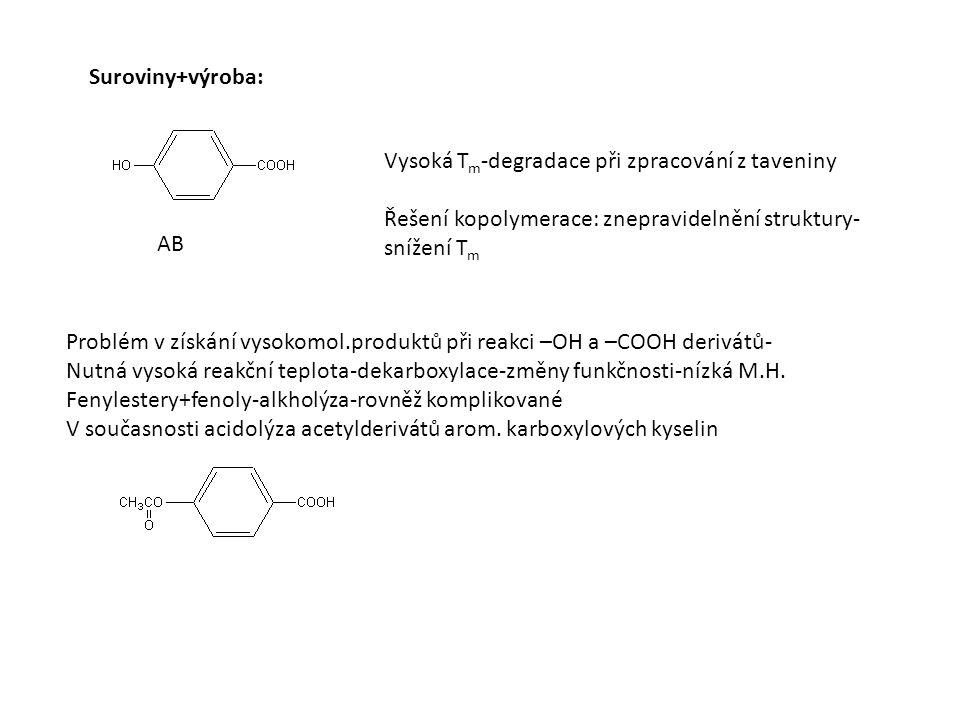Vysoká T m -degradace při zpracování z taveniny Řešení kopolymerace: znepravidelnění struktury- snížení T m Problém v získání vysokomol.produktů při reakci –OH a –COOH derivátů- Nutná vysoká reakční teplota-dekarboxylace-změny funkčnosti-nízká M.H.