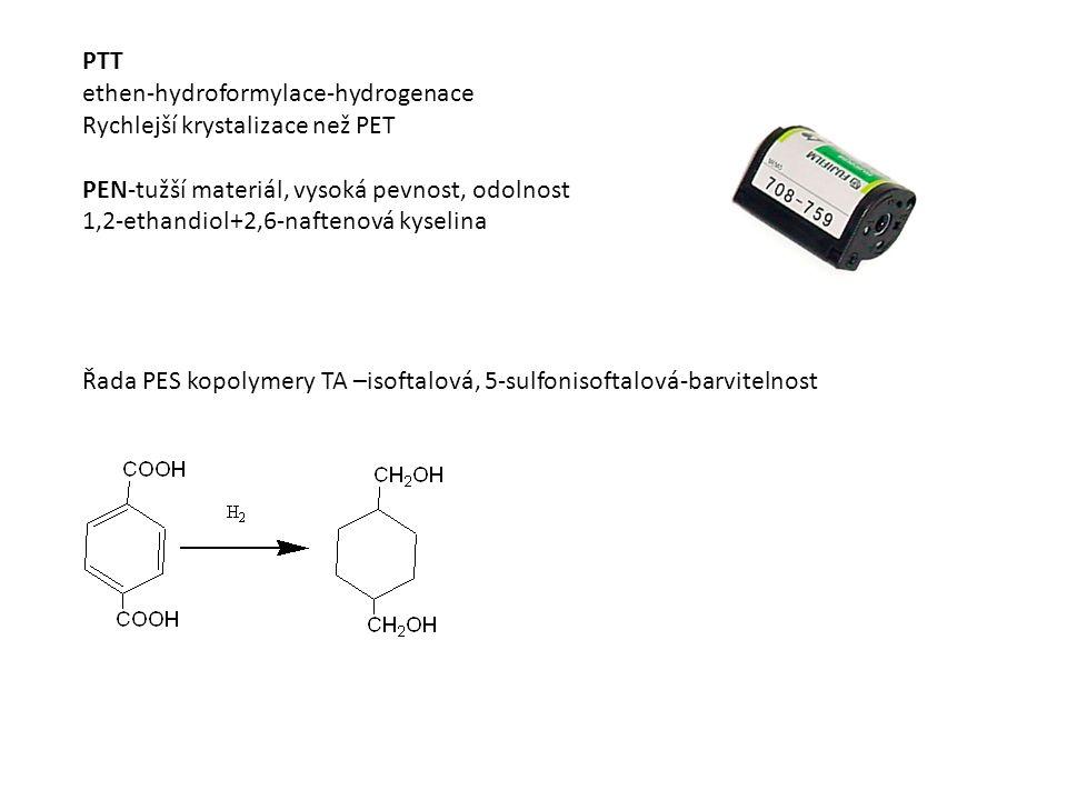 PTT ethen-hydroformylace-hydrogenace Rychlejší krystalizace než PET PEN-tužší materiál, vysoká pevnost, odolnost 1,2-ethandiol+2,6-naftenová kyselina Řada PES kopolymery TA –isoftalová, 5-sulfonisoftalová-barvitelnost