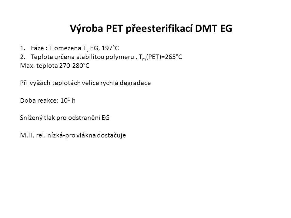 Výroba PET přeesterifikací DMT EG 1.Fáze : T omezena T v EG, 197°C 2.Teplota určena stabilitou polymeru, T m (PET)=265°C Max.
