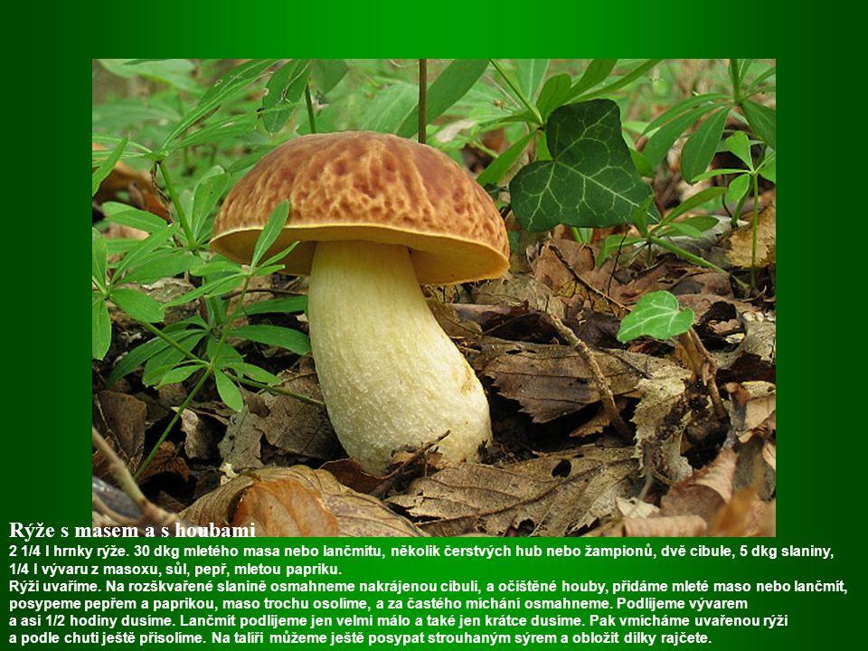 Houbové šišky Použijeme výhradně čerstvé houby, ale ne žampiony. Houby se nakrájí,osolí a okmínují a podusí na sádle a cibuli. Potom podlijeme a až se