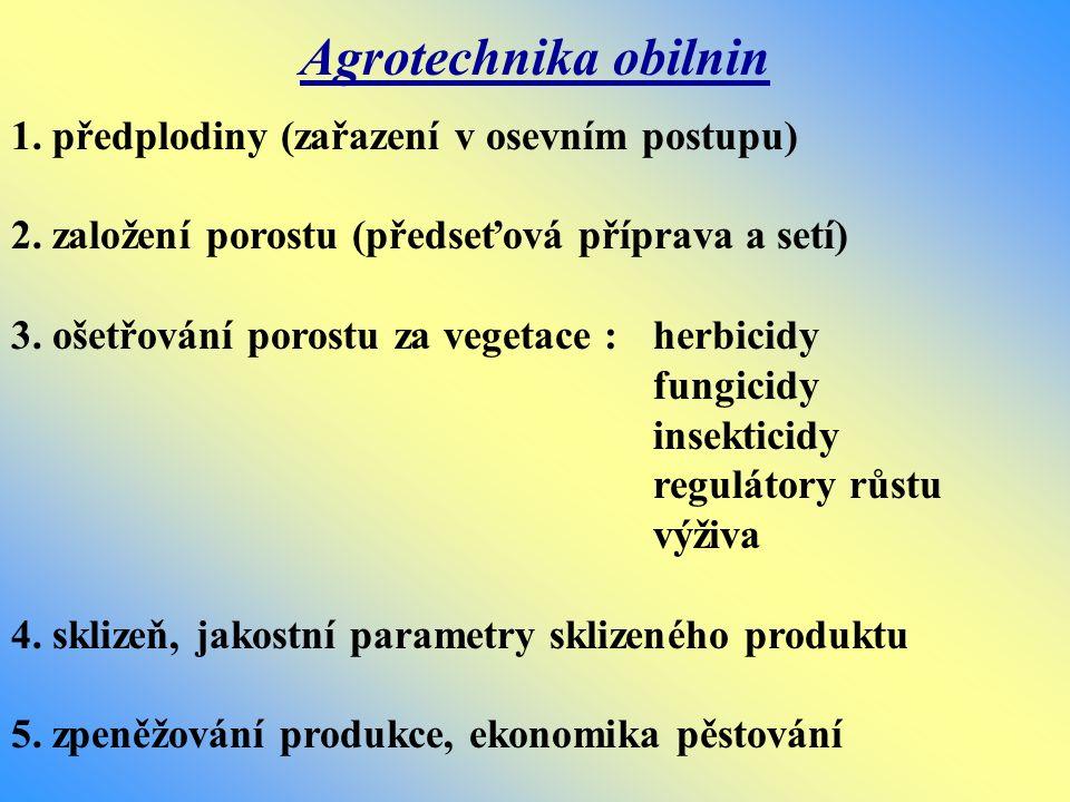Agrotechnika obilnin 1. předplodiny (zařazení v osevním postupu) 2. založení porostu (předseťová příprava a setí) 3. ošetřování porostu za vegetace :
