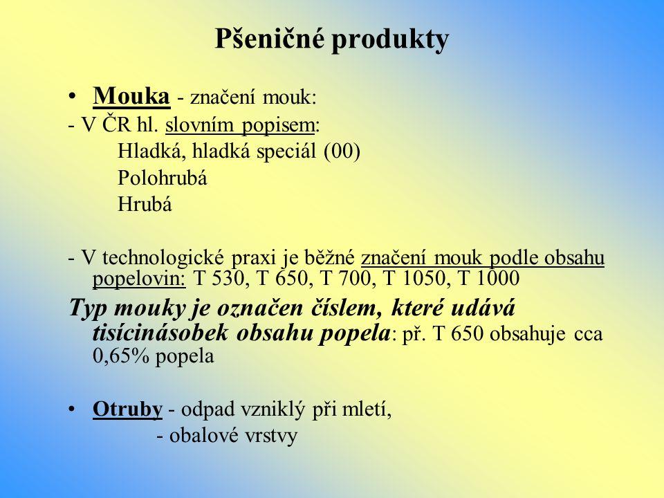 Pšeničné produkty Mouka - značení mouk: - V ČR hl. slovním popisem: Hladká, hladká speciál (00) Polohrubá Hrubá - V technologické praxi je běžné znače