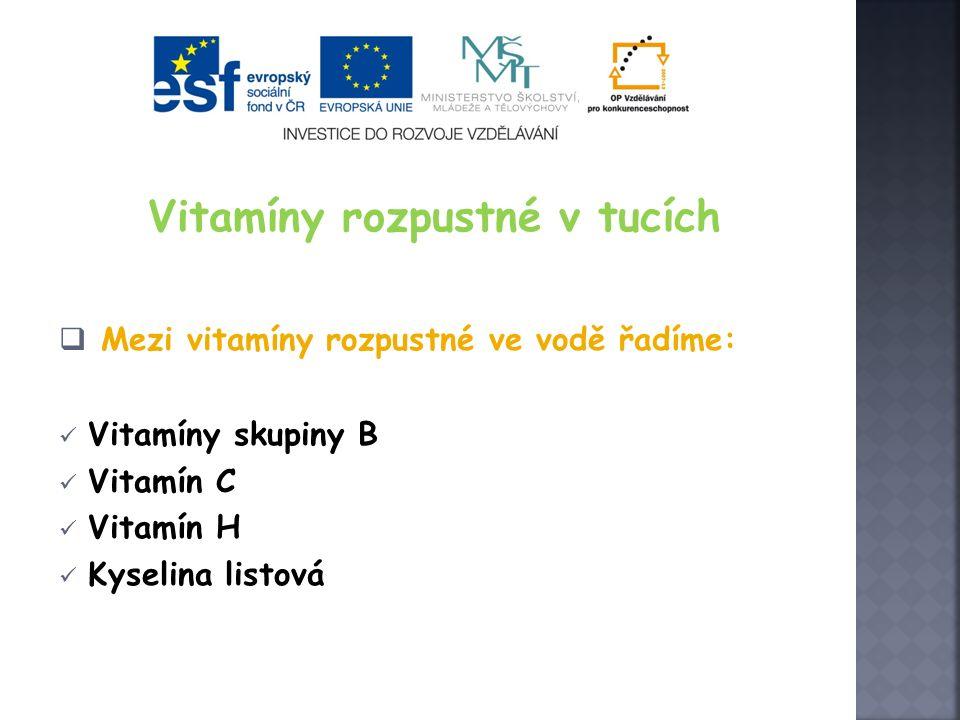 Vitamíny rozpustné v tucích  Mezi vitamíny rozpustné ve vodě řadíme: Vitamíny skupiny B Vitamín C Vitamín H Kyselina listová