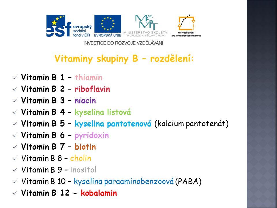 Vitaminy skupiny B – rozdělení: Vitamin B 1 – thiamin Vitamin B 2 – riboflavin Vitamin B 3 – niacin Vitamin B 4 – kyselina listová Vitamin B 5 – kyselina pantotenová (kalcium pantotenát) Vitamin B 6 – pyridoxin Vitamin B 7 – biotin Vitamin B 8 – cholin Vitamin B 9 – inositol Vitamin B 10 – kyselina paraaminobenzoová (PABA) Vitamin B 12 - kobalamin