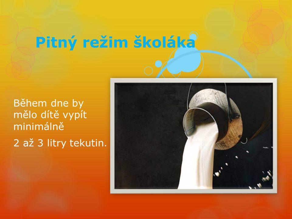 Pitný režim školáka Během dne by mělo dítě vypít minimálně 2 až 3 litry tekutin.