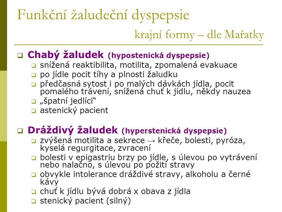 Funkční žaludeční dyspepsie krajní formy – dle Mařatky  Chabý žaludek (hypostenická dyspepsie)  snížená reaktibilita, motilita, zpomalená evakuace 