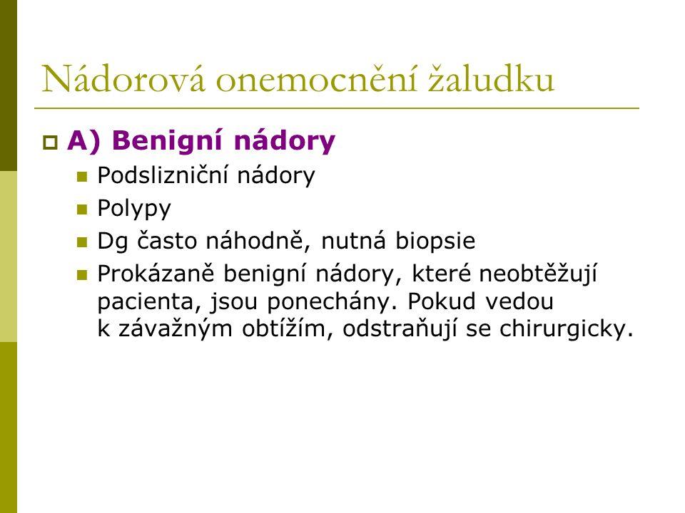 Nádorová onemocnění žaludku  A) Benigní nádory Podslizniční nádory Polypy Dg často náhodně, nutná biopsie Prokázaně benigní nádory, které neobtěžují pacienta, jsou ponechány.