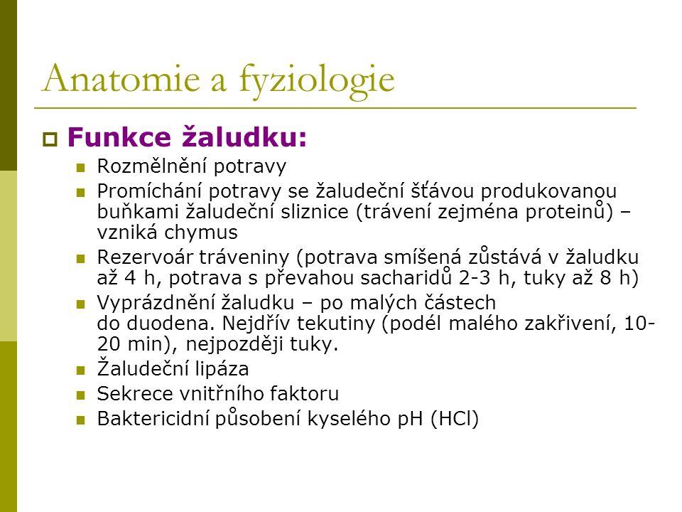 Anatomie a fyziologie  Funkce žaludku: Rozmělnění potravy Promíchání potravy se žaludeční šťávou produkovanou buňkami žaludeční sliznice (trávení zej