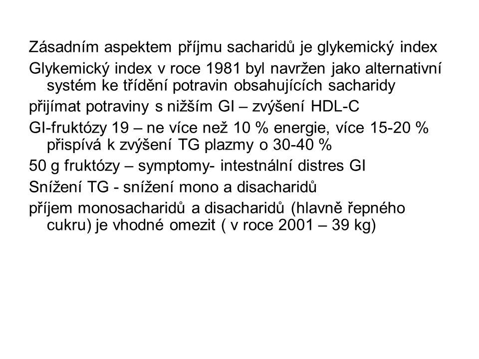 Zásadním aspektem příjmu sacharidů je glykemický index Glykemický index v roce 1981 byl navržen jako alternativní systém ke třídění potravin obsahujících sacharidy přijímat potraviny s nižším GI – zvýšení HDL-C GI-fruktózy 19 – ne více než 10 % energie, více 15-20 % přispívá k zvýšení TG plazmy o 30-40 % 50 g fruktózy – symptomy- intestnální distres GI Snížení TG - snížení mono a disacharidů příjem monosacharidů a disacharidů (hlavně řepného cukru) je vhodné omezit ( v roce 2001 – 39 kg)