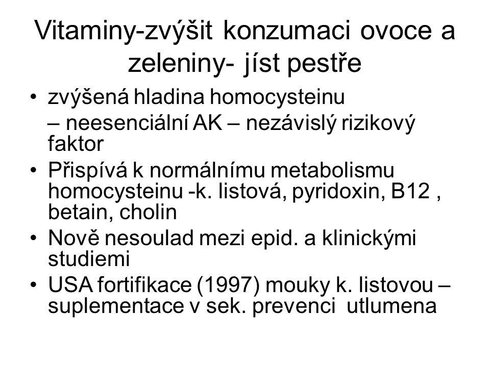 Vitaminy-zvýšit konzumaci ovoce a zeleniny- jíst pestře zvýšená hladina homocysteinu – neesenciální AK – nezávislý rizikový faktor Přispívá k normálnímu metabolismu homocysteinu -k.