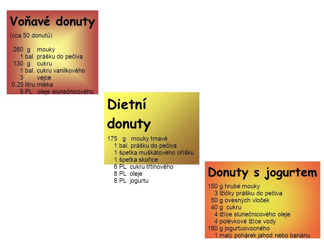 Voňavé donuty (cca 50 donutů) 260 g mouky 1 bal. prášku do pečiva 130 g cukru 1 bal.