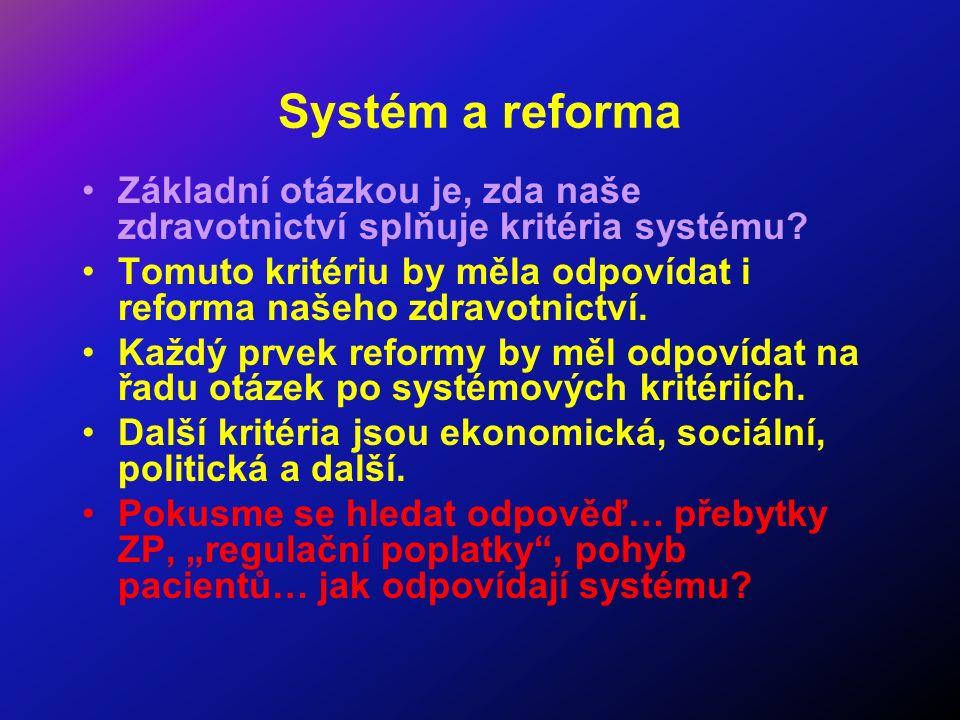 Systém a reforma Základní otázkou je, zda naše zdravotnictví splňuje kritéria systému? Tomuto kritériu by měla odpovídat i reforma našeho zdravotnictv