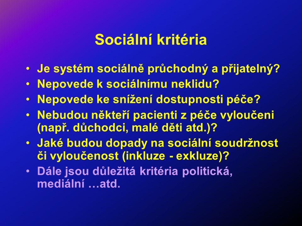 Sociální kritéria Je systém sociálně průchodný a přijatelný? Nepovede k sociálnímu neklidu? Nepovede ke snížení dostupnosti péče? Nebudou někteří paci