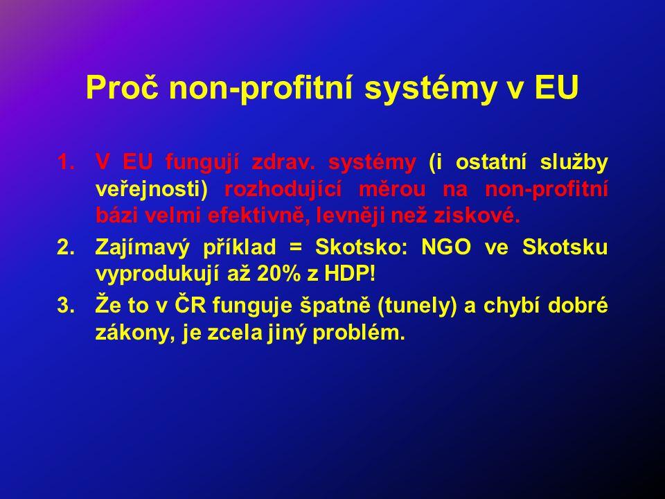 Proč non-profitní systémy v EU 1.V EU fungují zdrav. systémy (i ostatní služby veřejnosti) rozhodující měrou na non-profitní bázi velmi efektivně, lev