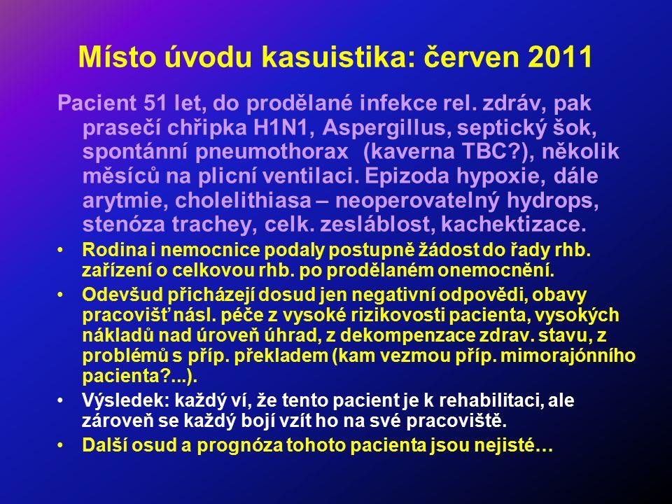 Místo úvodu kasuistika: červen 2011 Pacient 51 let, do prodělané infekce rel. zdráv, pak prasečí chřipka H1N1, Aspergillus, septický šok, spontánní pn