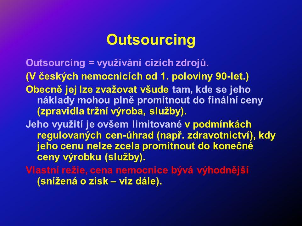 Outsourcing Outsourcing = využívání cizích zdrojů. (V českých nemocnicích od 1. poloviny 90-let.) Obecně jej lze zvažovat všude tam, kde se jeho nákla