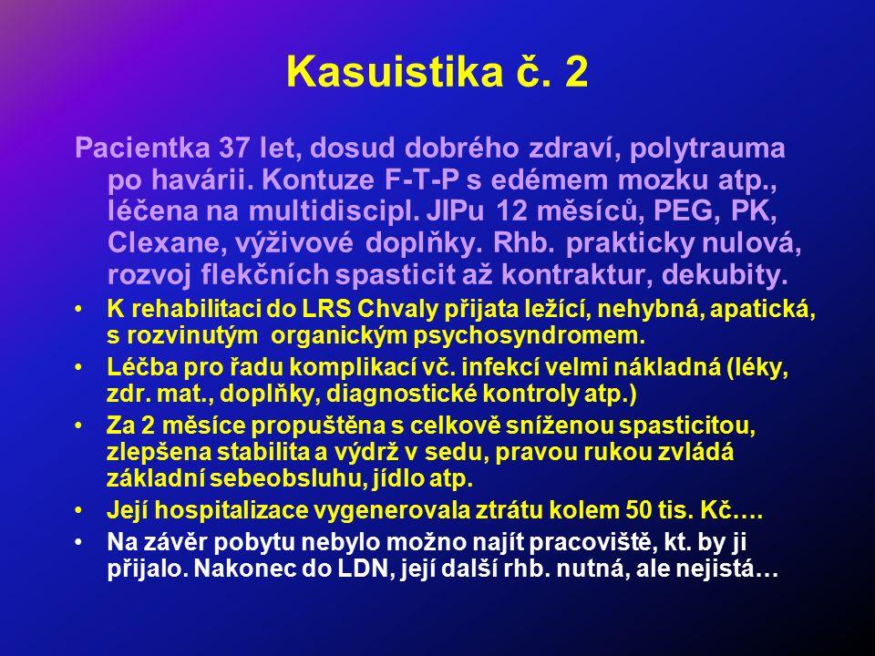 Kasuistika č. 2 Pacientka 37 let, dosud dobrého zdraví, polytrauma po havárii. Kontuze F-T-P s edémem mozku atp., léčena na multidiscipl. JIPu 12 měsí