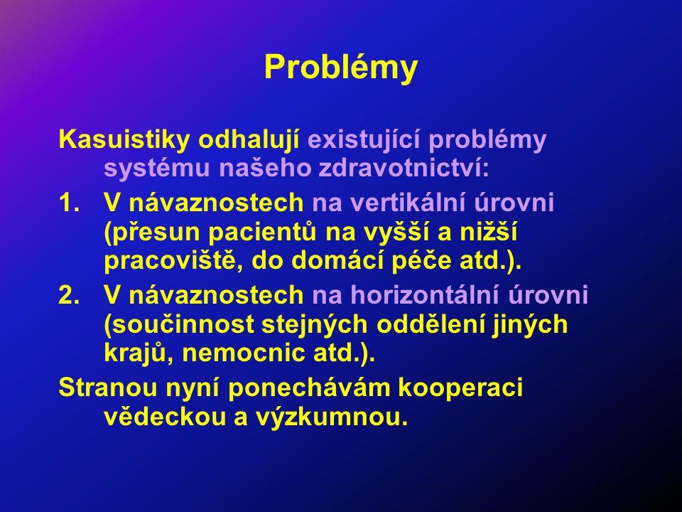 Problémy Kasuistiky odhalují existující problémy systému našeho zdravotnictví: 1.V návaznostech na vertikální úrovni (přesun pacientů na vyšší a nižší
