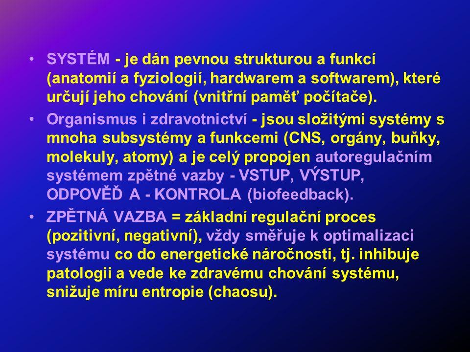 SYSTÉM - je dán pevnou strukturou a funkcí (anatomií a fyziologií, hardwarem a softwarem), které určují jeho chování (vnitřní paměť počítače). Organis