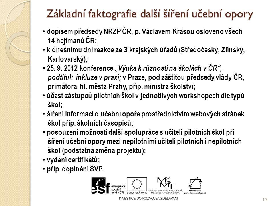 Základní faktografie další šíření učební opory 13 dopisem předsedy NRZP ČR, p.