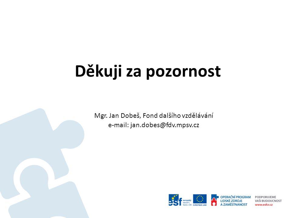 Děkuji za pozornost Mgr. Jan Dobeš, Fond dalšího vzdělávání e-mail: jan.dobes@fdv.mpsv.cz