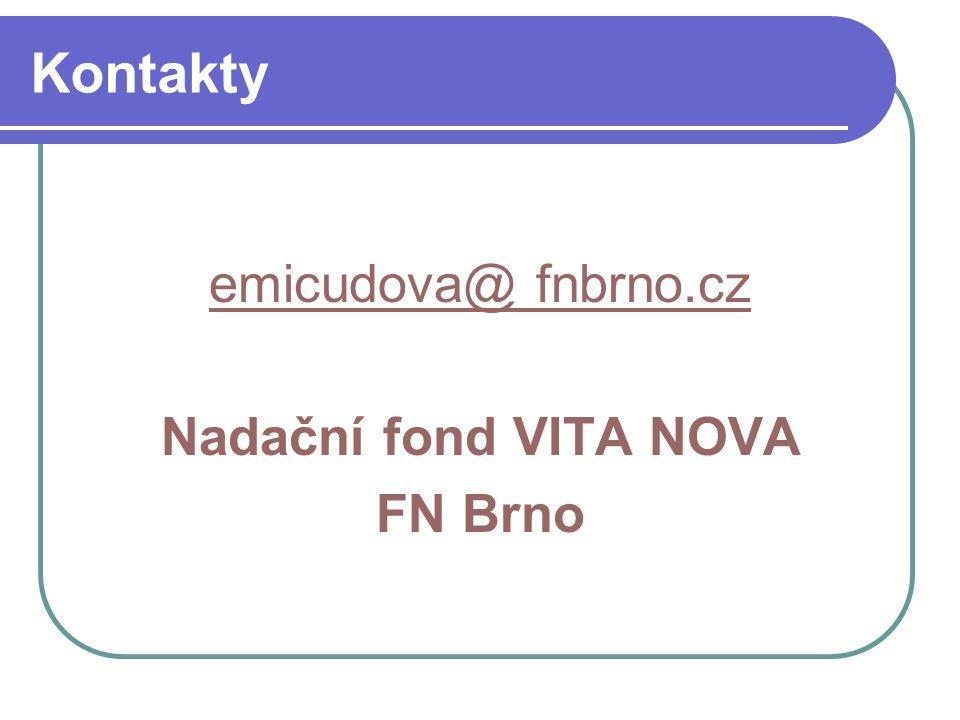 Kontakty emicudova@ fnbrno.cz Nadační fond VITA NOVA FN Brno