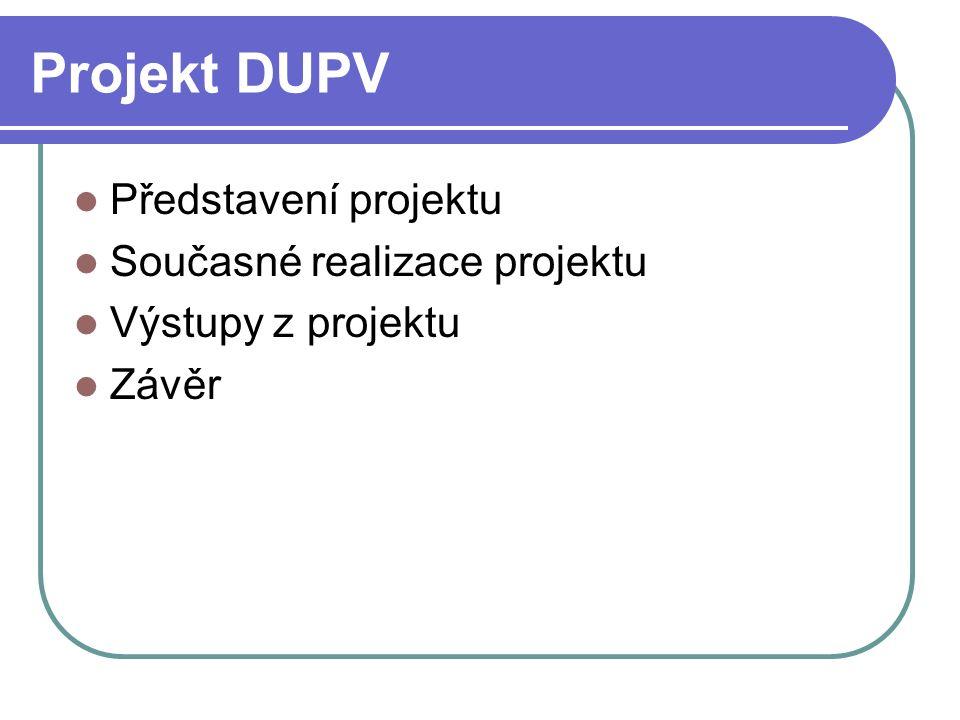 Projekt DUPV Představení projektu Současné realizace projektu Výstupy z projektu Závěr