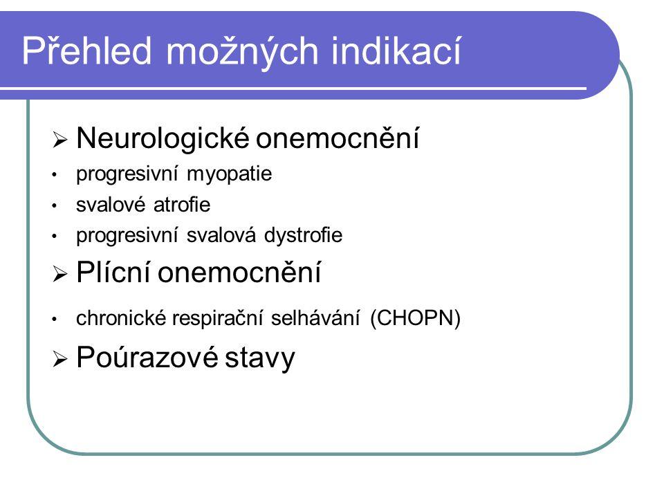 Přehled možných indikací  Neurologické onemocnění progresivní myopatie svalové atrofie progresivní svalová dystrofie  Plícní onemocnění chronické respirační selhávání (CHOPN)  Poúrazové stavy