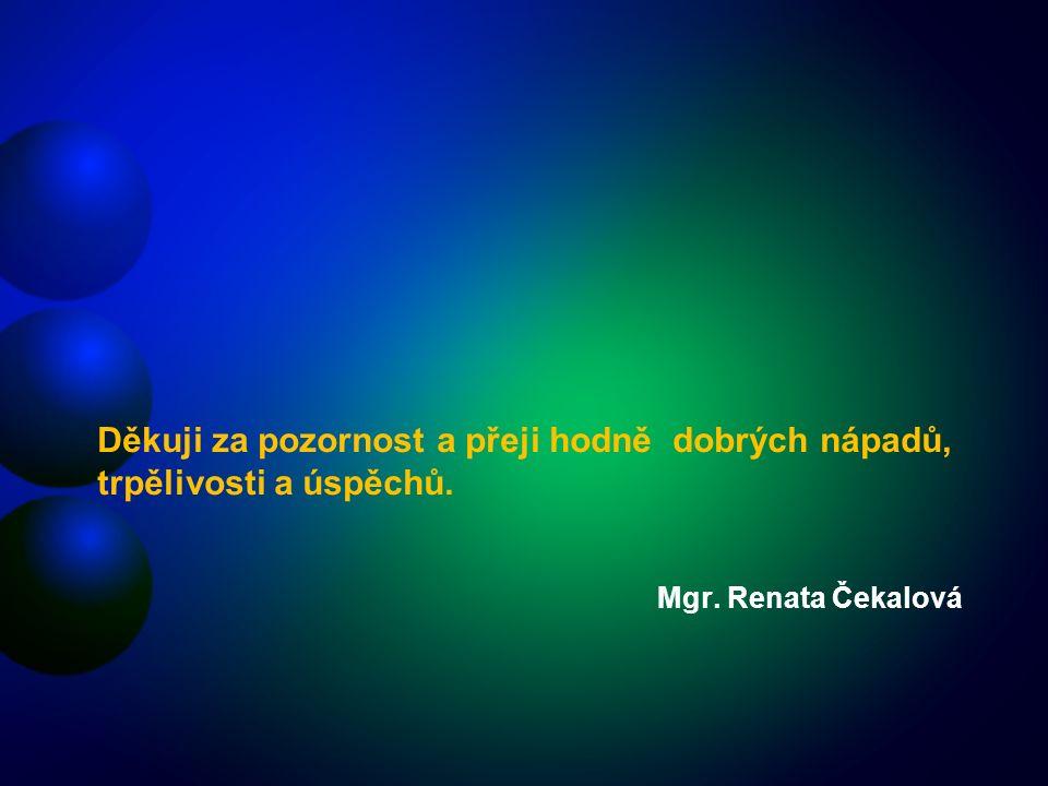 Mgr. Renata Čekalová Děkuji za pozornost a přeji hodně dobrých nápadů, trpělivosti a úspěchů.