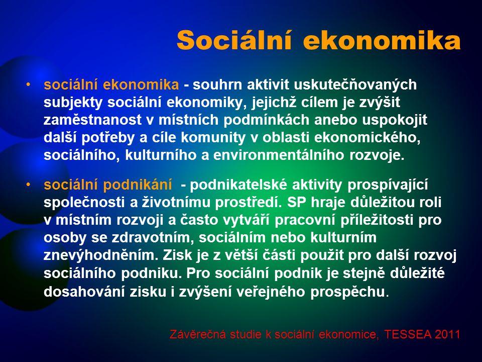 Sociální ekonomika sociální ekonomika - souhrn aktivit uskutečňovaných subjekty sociální ekonomiky, jejichž cílem je zvýšit zaměstnanost v místních podmínkách anebo uspokojit další potřeby a cíle komunity v oblasti ekonomického, sociálního, kulturního a environmentálního rozvoje.