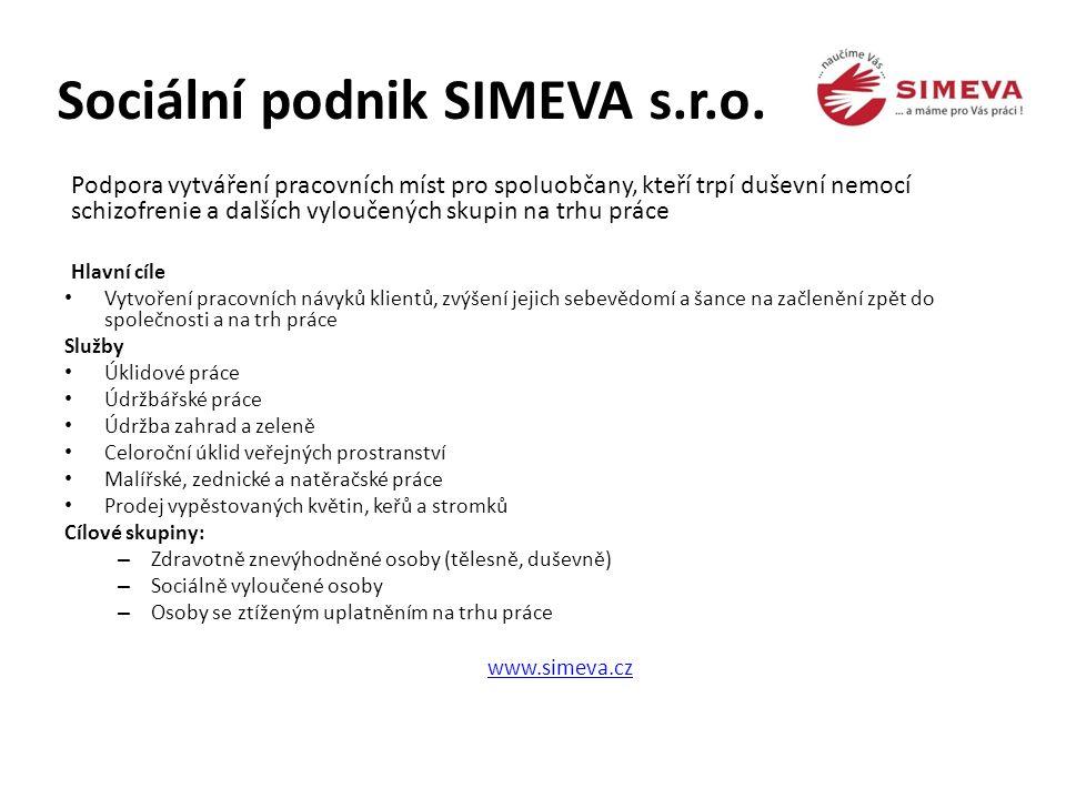 Sociální podnik SIMEVA s.r.o. Podpora vytváření pracovních míst pro spoluobčany, kteří trpí duševní nemocí schizofrenie a dalších vyloučených skupin n