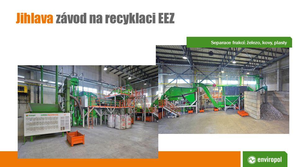 Jihlava závod na recyklaci EEZ Separace frakcí: železo, kovy, plasty