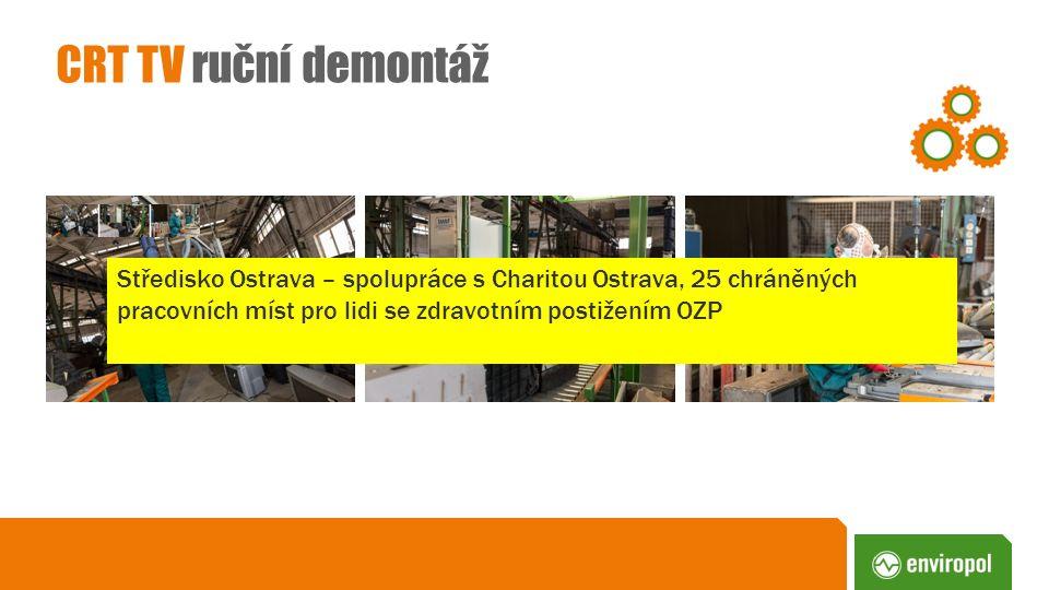CRT TV ruční demontáž Středisko Ostrava – spolupráce s Charitou Ostrava, 25 chráněných pracovních míst pro lidi se zdravotním postižením OZP