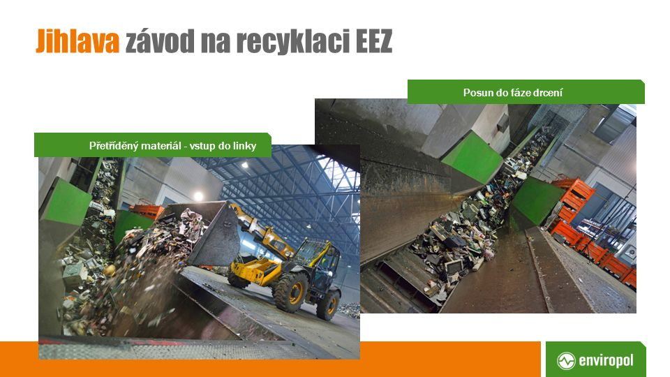 Jihlava závod na recyklaci EEZ Posun do fáze drcení Přetříděný materiál - vstup do linky