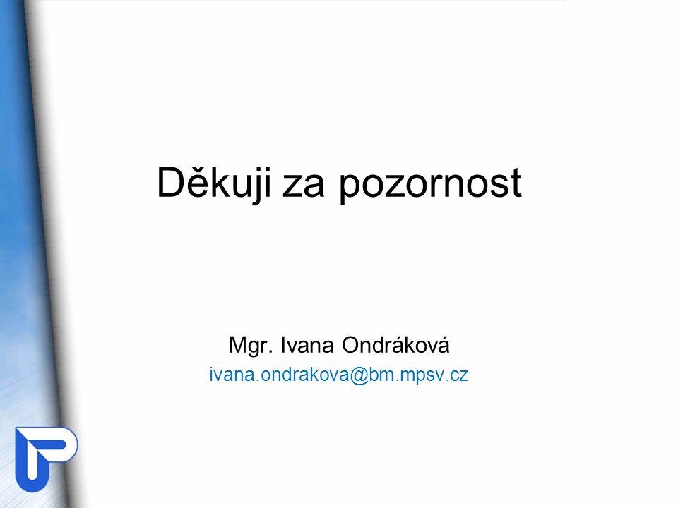 Děkuji za pozornost Mgr. Ivana Ondráková ivana.ondrakova@bm.mpsv.cz